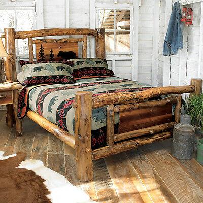 Aspen Log Bed Frame - Country Western Rustic Wood Bedroom .