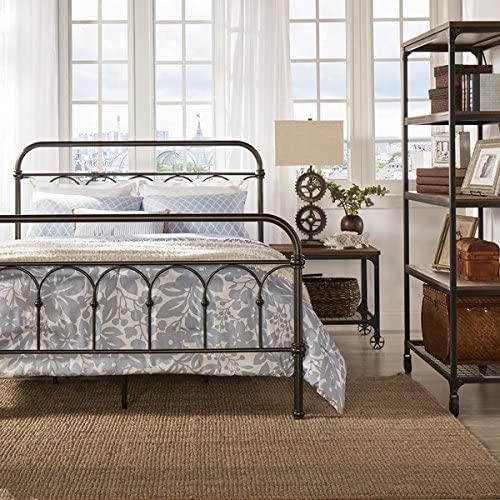 Amazon.com: Morocco Vintage Metal Bed Frame Antique Rustic Dark .