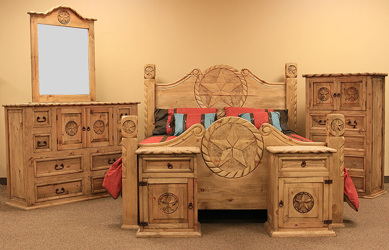 LMT | Country Rope and Star Rustic Bedroom Set with Natural .