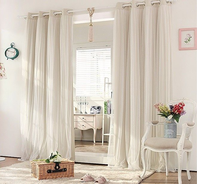 Double Layer Blockout with Lace curtains (CREAM BEIGE) | Cream .