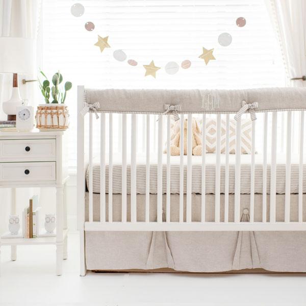 Neutral Baby Bedding | Gender Neutral Crib Bedding | Linen Crib .