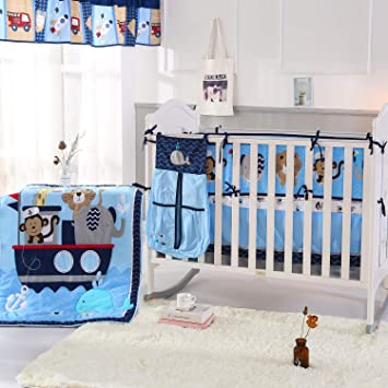 Amazon.com : Wowelife Animal Baby Crib Sets Blue Upgraded 9 Piece .