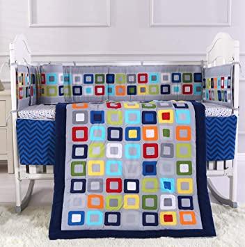 Amazon.com : Wowelife Blue Crib Bedding Set 7 Piece Geometry Crib .