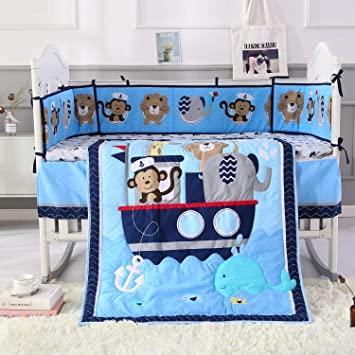 Amazon.com : Wowelife Animal Baby Crib Sets Blue 7 Piece Monkey .