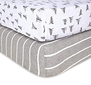 Amazon.com : Burt's Bees Baby - Fitted Crib Sheets, 2-Pack, Boys .