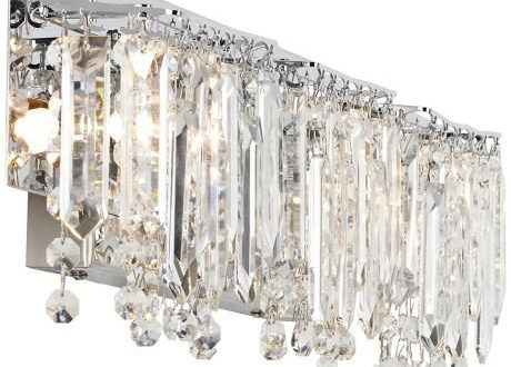"Possini Euro Crystal Strand 25 3/4"" Wide Chrome Bath Light ."