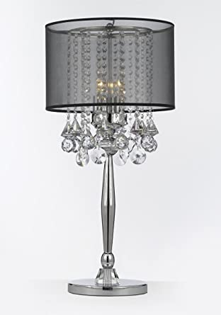 Silver Mist 3 Light Chrome Crystal Table Lamp with Black Shade .