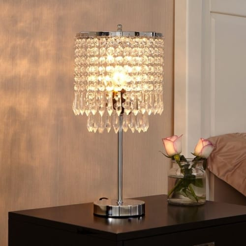Bedside Crystal Table Lamp Elegant Desk Light Home Shade Lighting .