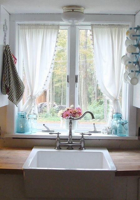 End of Summer Kitchen Window | Kitchen window curtains, Kitchen .