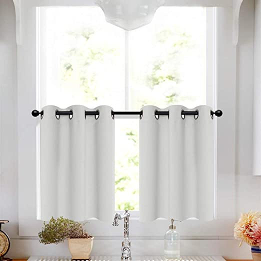 Amazon.com: White Tier Curtains 24 inch Grommet Bathroom Window .