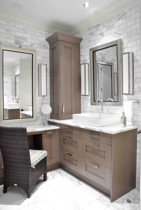Design Galleria: Custom sink vanity built into corner of bathroom .