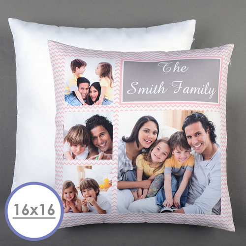 Pink Chevron Collage Personalized Pillow Cushion Cov