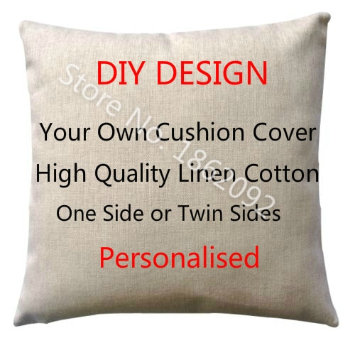 Personalized Cushion Cover Linen Personalised Custom Throw Pillow .