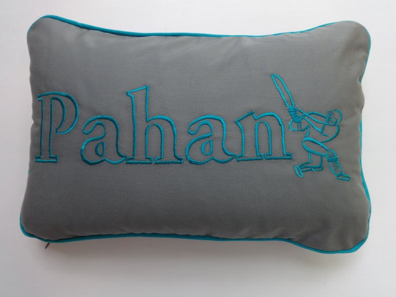 Name pillow. Custom Made cushion cover for cricket lovers. | Et