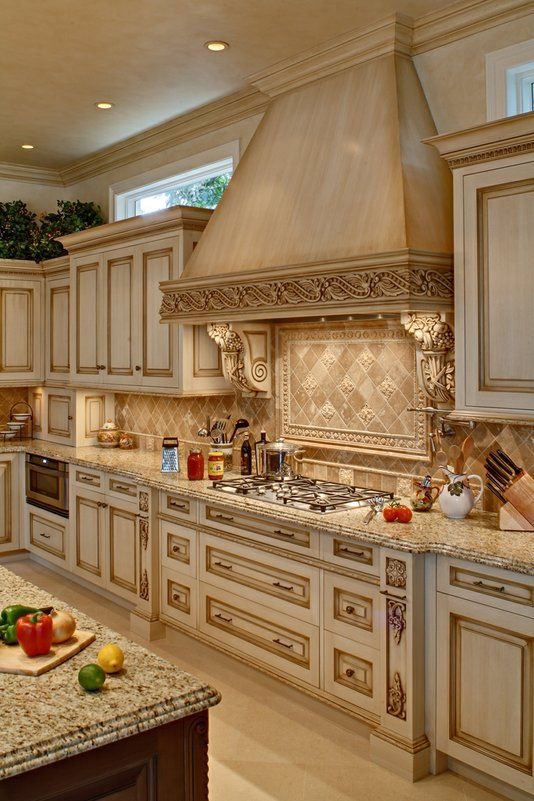 Custom Made Glazed Kitchen cabinets ... check out the oven hood .
