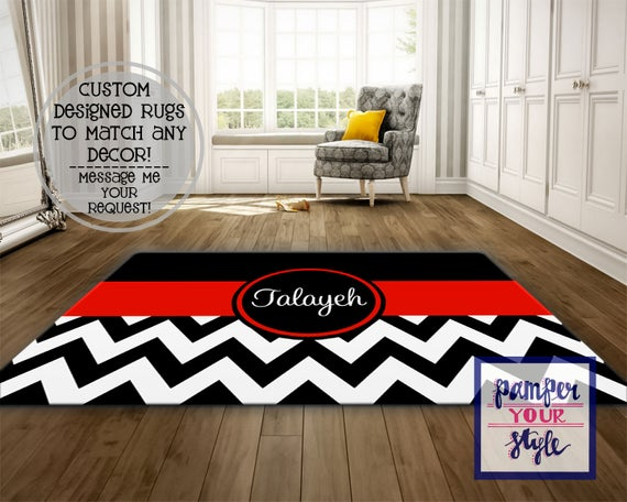 Personalized Area Rug Black and Red Chevron Custom Rug | Et