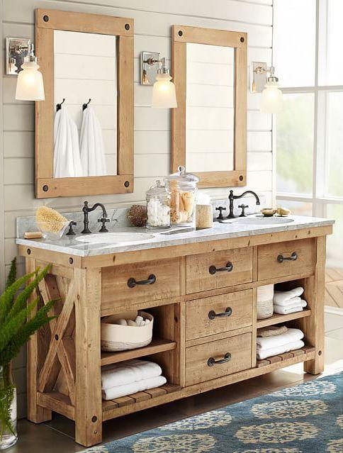 Great bathroom lighting is SO important! | Rustic master bathroom .