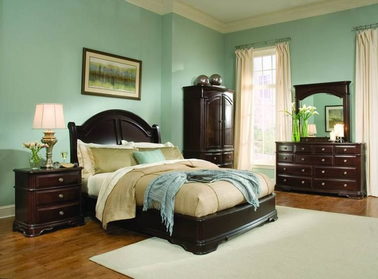 light-green-bedroom-ideas-with-dark-wood-furniture | Dark wood .