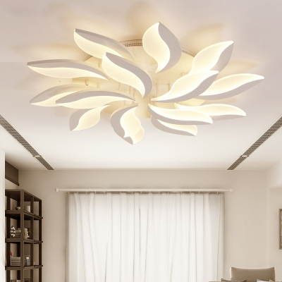 Nordic Style Leaf LED Semi Flush Mount Acrylic Multi Light .