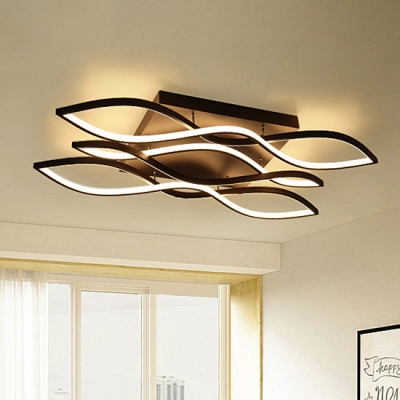 Brown LED Wave Ceiling Light Home Decorative 37W-152W 1/2/3/5 .
