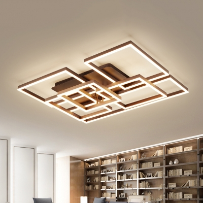 Geometric Pattern LED Flushmount with Acrylic Shade Modernism .