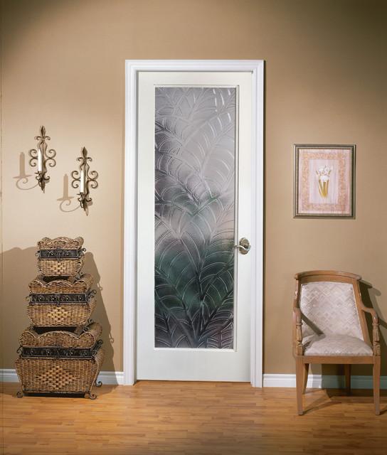 Kona Decorative Glass Interior Door - Tropical - Home Office .