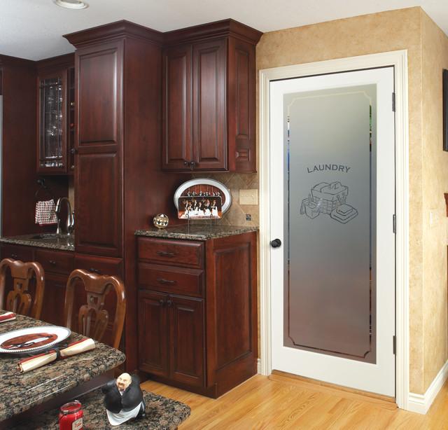 Laundry Decorative Glass Interior Doors - Traditional - Kitchen .