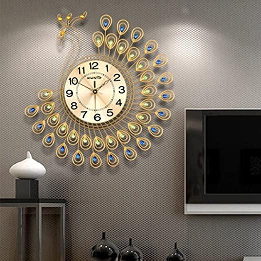 Amazon.com: NEOTEND Large Decorative Wall Clock Peacock Silent .