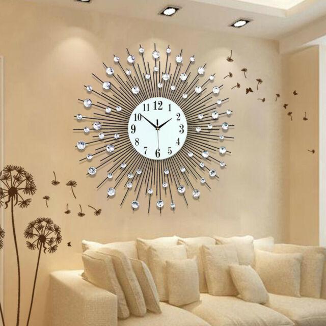 US Luxury Diamond Wall Clock Scenic Iron Art Metal Living Room .