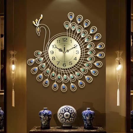 Large Non ticking Silent Decorative Wall Clock Metal Watch Gold 3D .