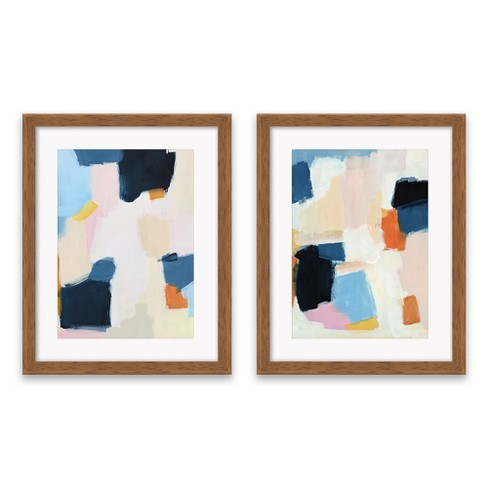 "Set Of 2) 16.25""x20.25"" Abstract Framed Print Decorative Wall Art ."