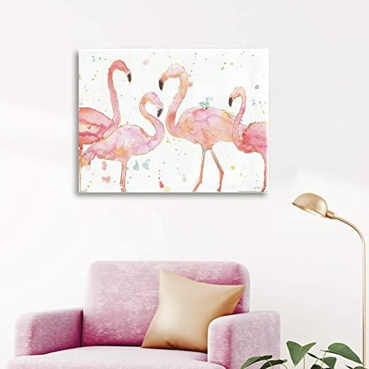 Amazon.com: MUHUA Flamingo Print Painting Pink Tropical Bird .