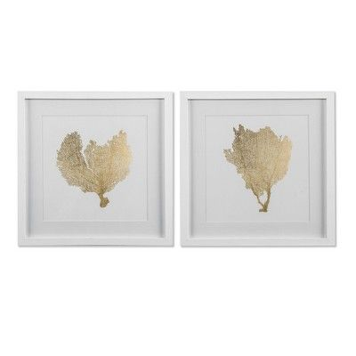 "Set of 2 16""x16"" Gold Foil Coral Framed Print Decorative Wall Art ."