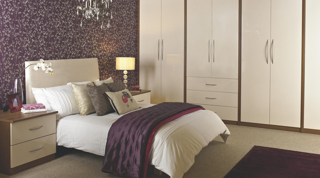 Designer Vanilla Gloss Modular Bedroom Furniture - Contemporary .