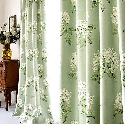 Pair of Designer Curtains,Cotton Vintage Floral Green Hydrangea 2 .