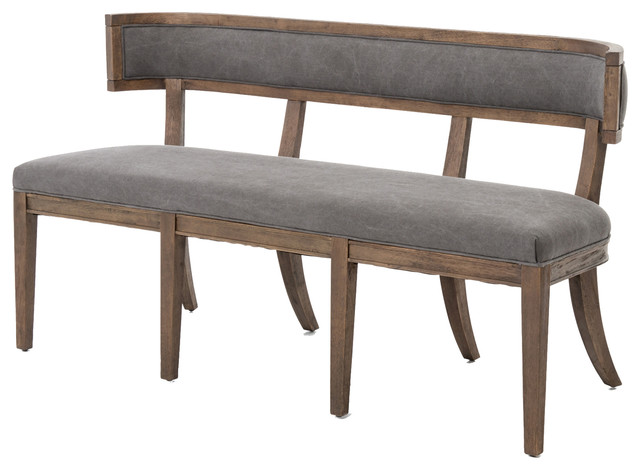 Livingston Modern Classic Curved Back Grey Dining Bench .