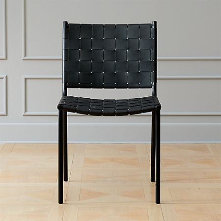 Woven Black Leather Dining Chair | C