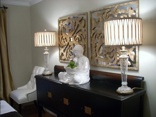 Dining room buffet decorating ideas with decorative wood wall .