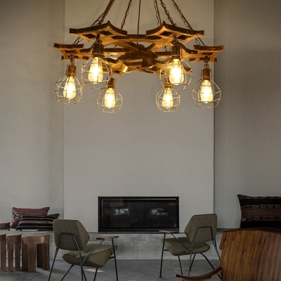 Cage Pendant Ceiling Lights Industrial-Style Metal 6 Light Hanging .