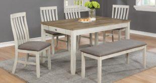 Nina White Rectangular Dining Room Table 6pc Set | Evansville .