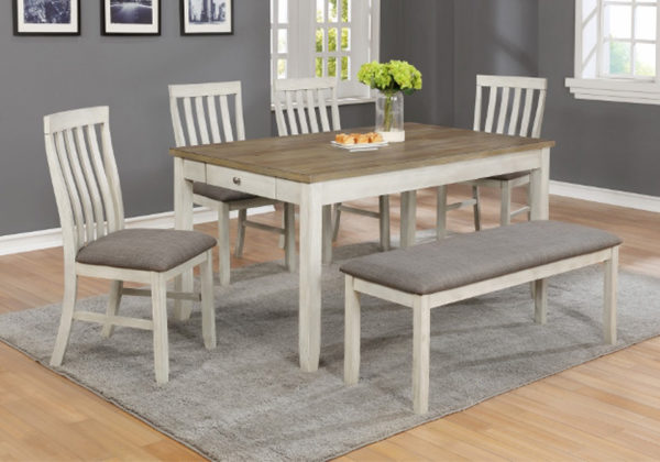 Nina White Rectangular Dining Room Table 6pc Set | Evansville .