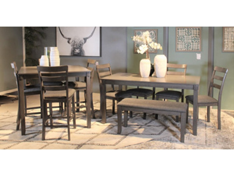 Ashley Bridson Counter Height Dining Room Table and Bar Stools .