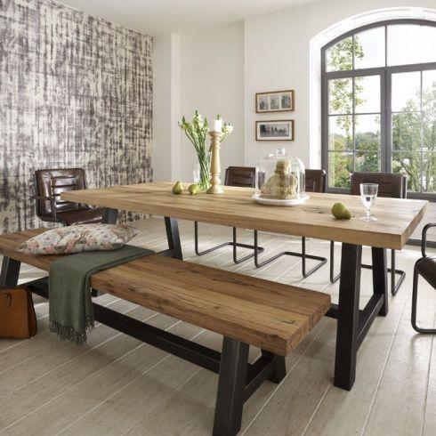 Distressed wood table & bench. Metal legs. Industrial modern .