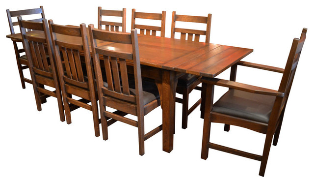 Arts and Crafts Oak Dining Table With 2 Leaves and 8 Dining Chairs .