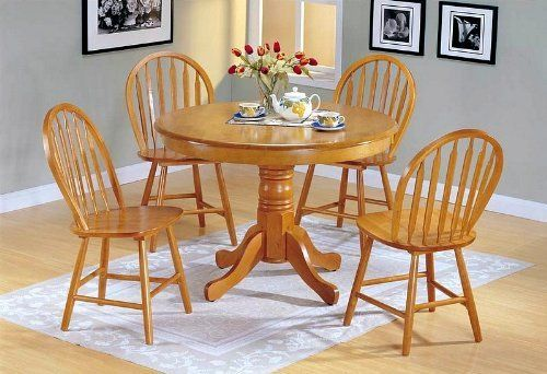 5pc Country Style Oak Finish Wood Round Dining Table 4 Windsor .