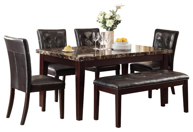 6-Piece Tango Dining Set Faux Marble Top Table, 4 Chair, Bench .