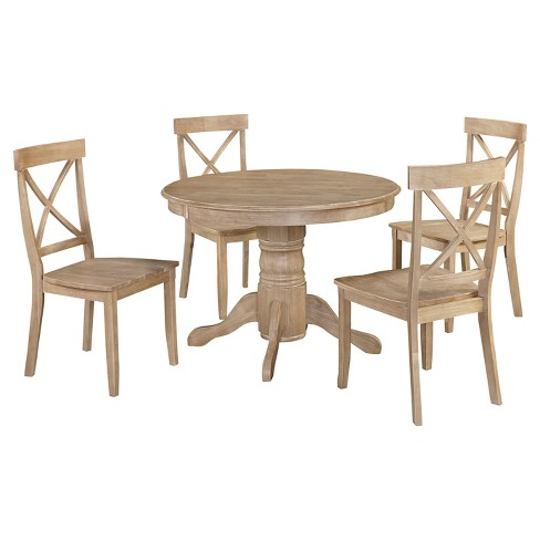 "Set Of 5 Michael 42""Round Dining Table With Chairs White Wash ."