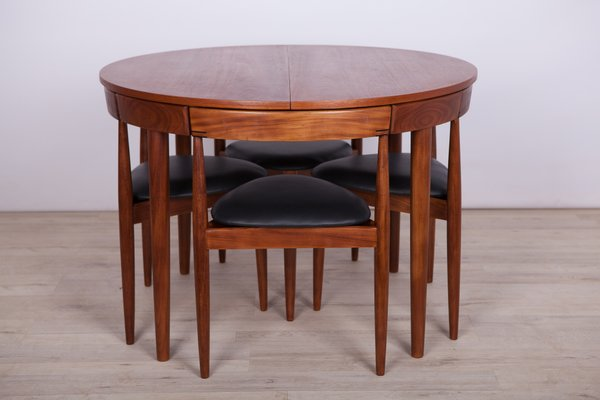 Mid Century Teak Dining Table & 4 Chairs by Hans Olsen for Frem .