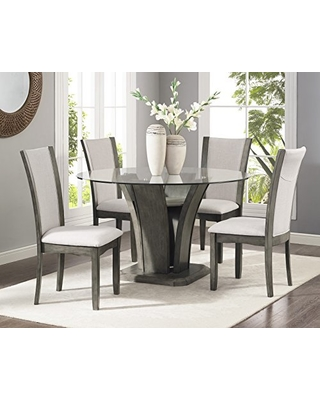 New Deal on Roundhill Furniture Kecco Grey 5-Piece Glass Top .