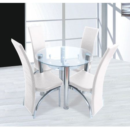 Compact Round Clear Glass Dining Set + 4 Dining Cream Chairs .